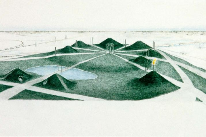 Color pencil study by Nancy Holt for her work Sky Mound in Meadowlands, New Jersey.