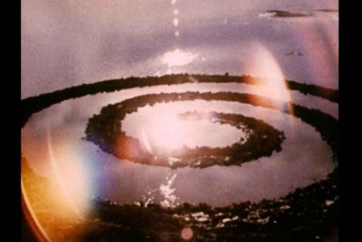 A still from the film Spiral Jetty shot from a helicopter.