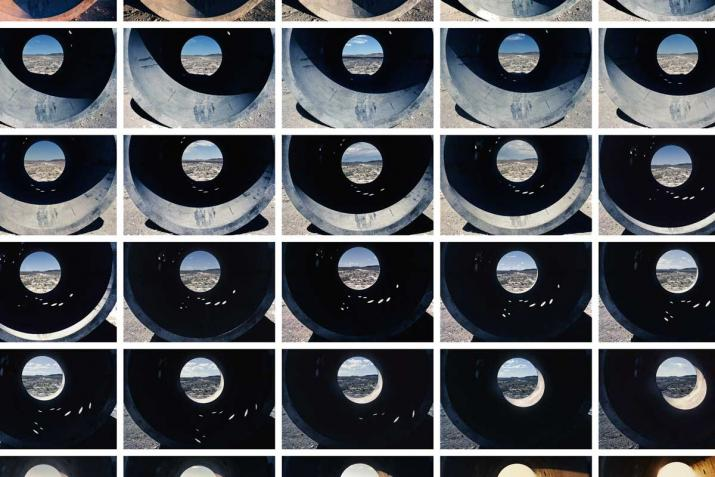 a grid of images of circular concrete tunnels with a circular opening in the center