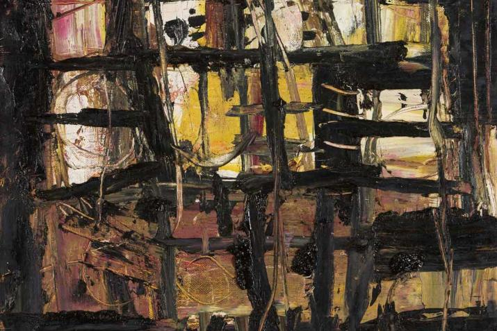 abstract painting with sharp black lines and brown and yellow tones