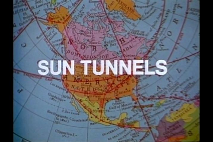 "a map of north america with the words ""Sun Tunnels"" overlayed in large white letters"