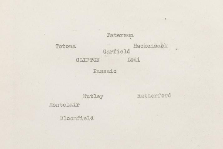 typewritten names of towns positioned on a yellowing sheet of typewriter paper