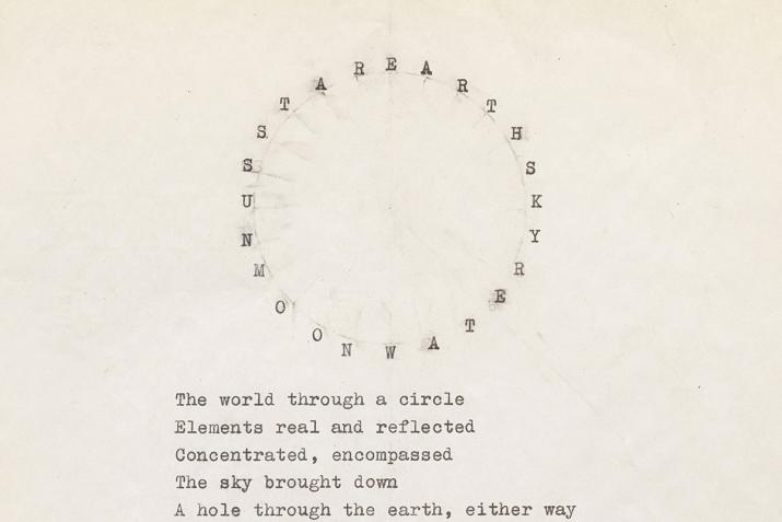 typewritten words in a large circle above a paragraph of words on yellowing paper