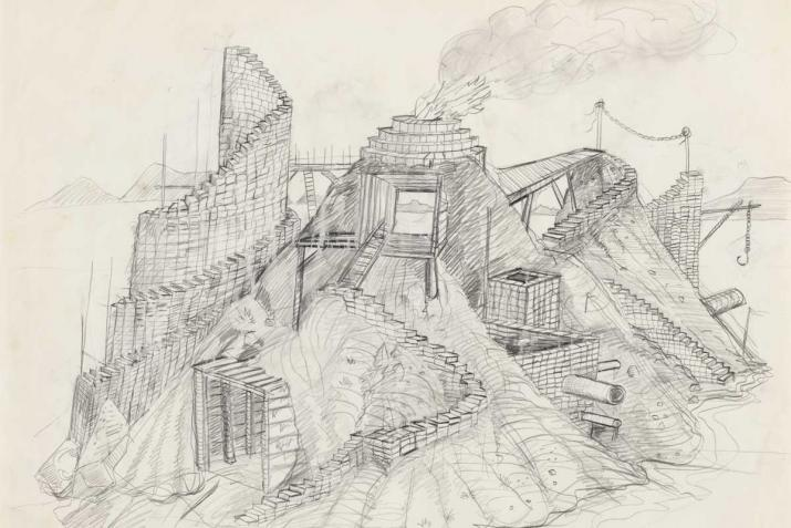 graphite drawing of an imagined island landscape