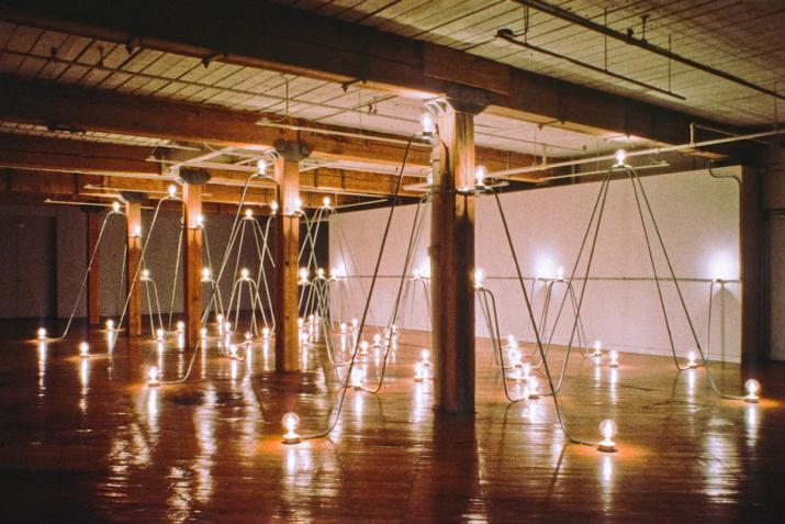 room filled with arches of conduit and lightbulbs