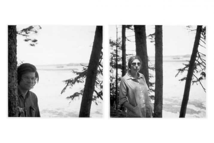 two polaroid portraits of people standing looking at the camera with trees and ocean behind them