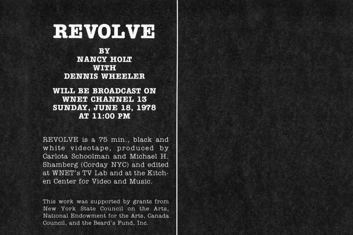 "black and white postcard with the word ""revolve"" in large print at the top"