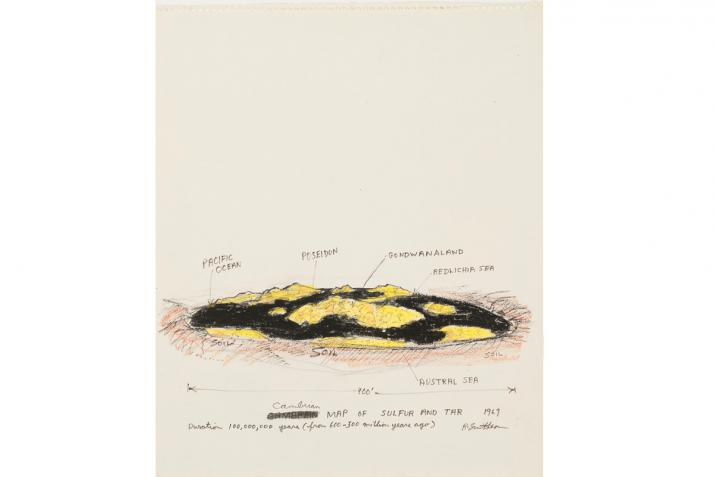 a drawing of a flat mass of sulfur and tar with handwritten annotations