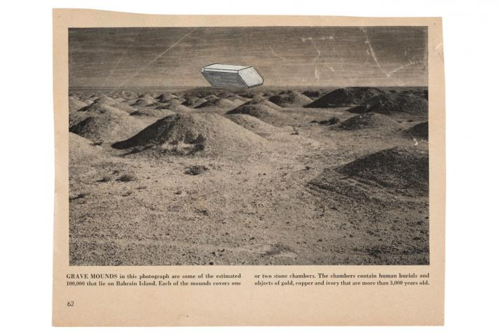 a collaged image of burial mounds with a floating abstract shape