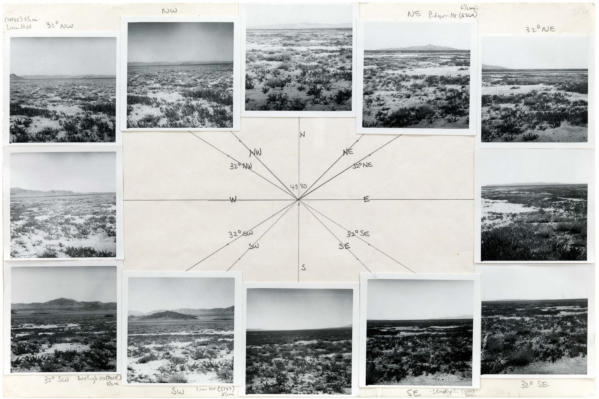A preparatory on paper work for Sun Tunnels using graphite and twelve black and white photographs  showing the landscape panorama surrounding the Sun Tunnels site.