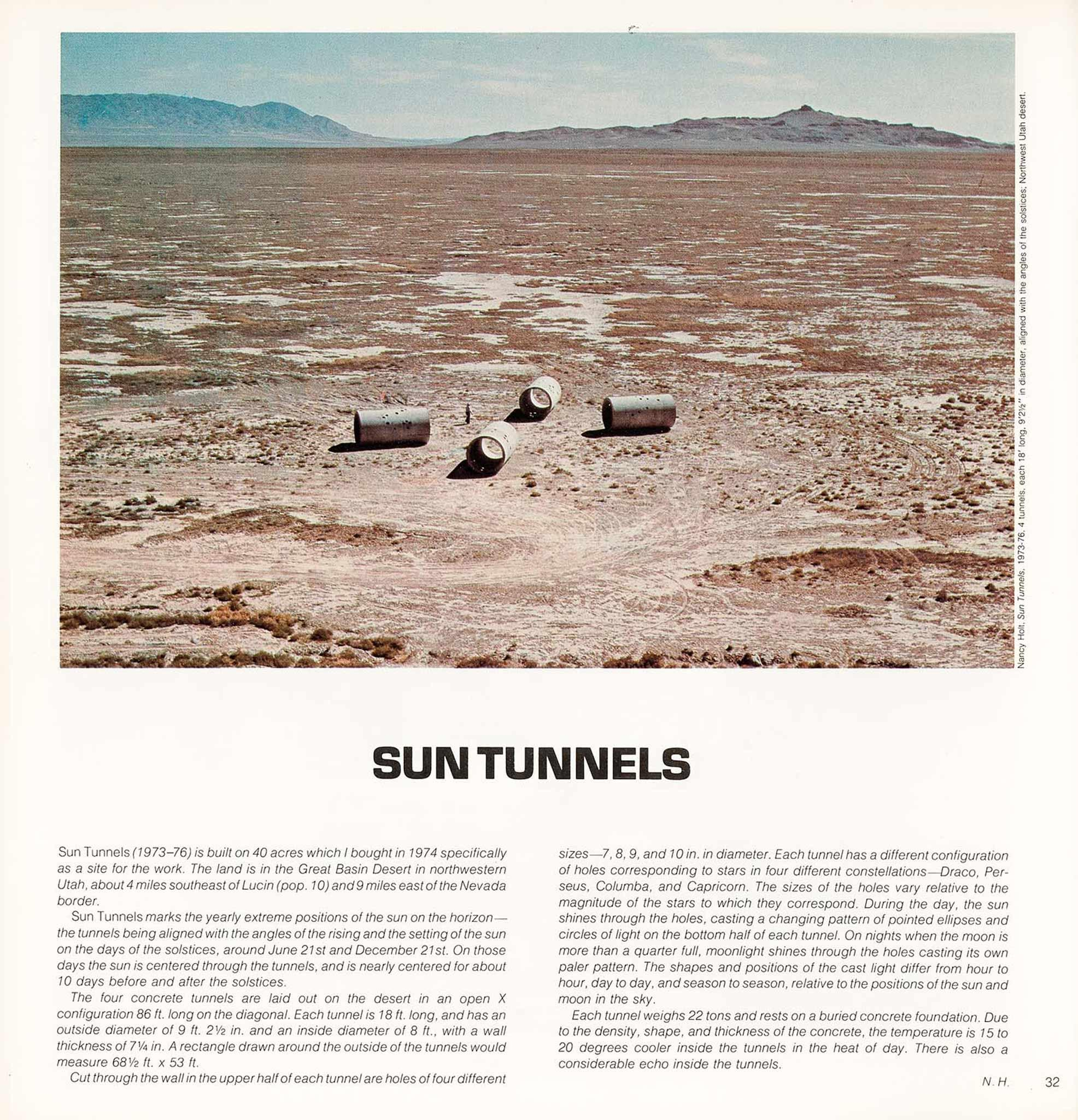 Magazine layout with image on top with text underneath. aerial image of the desert with mountains in the background.  In the center of the image are four concrete tunnels aligned in an X shape.