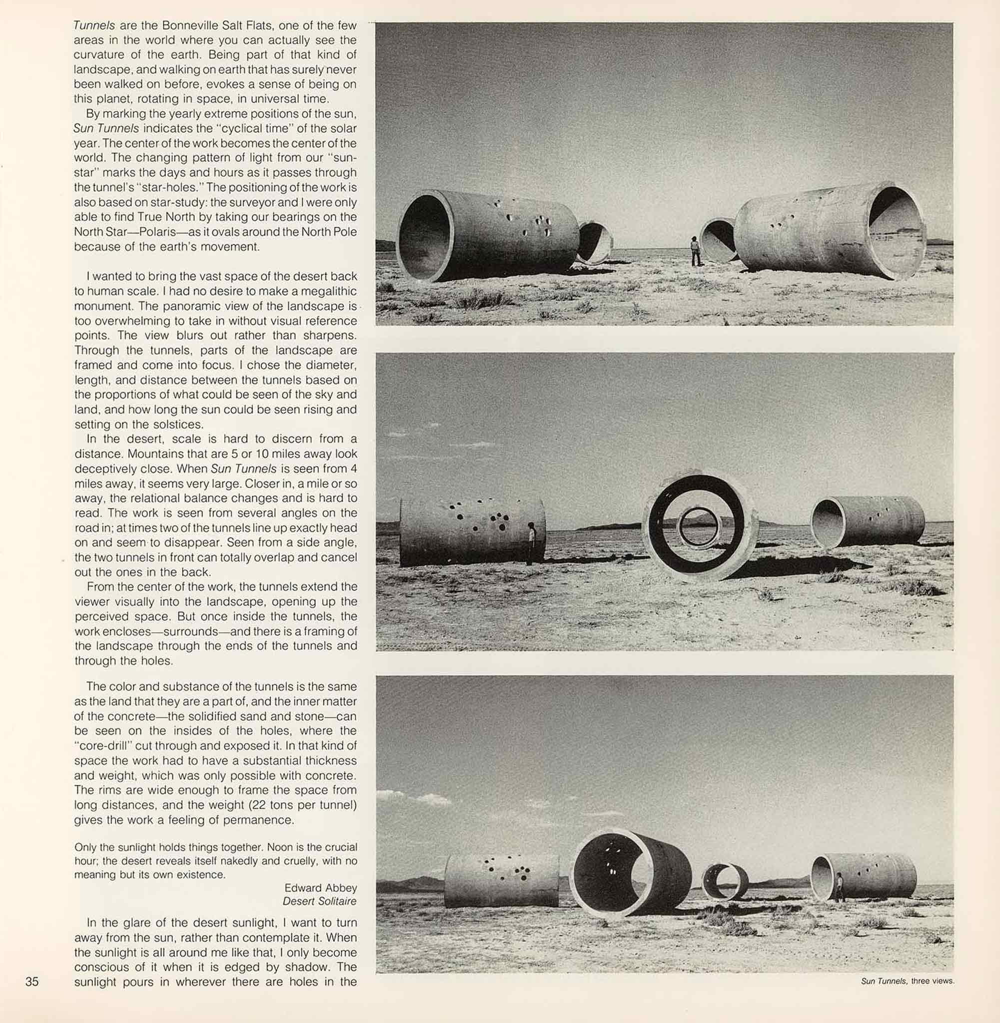 magazine layout with text on left and three images stacked vertically on the right.  Images are of a circular concrete tunnels in the distance with a figure to show their large scale of 9ft in height.