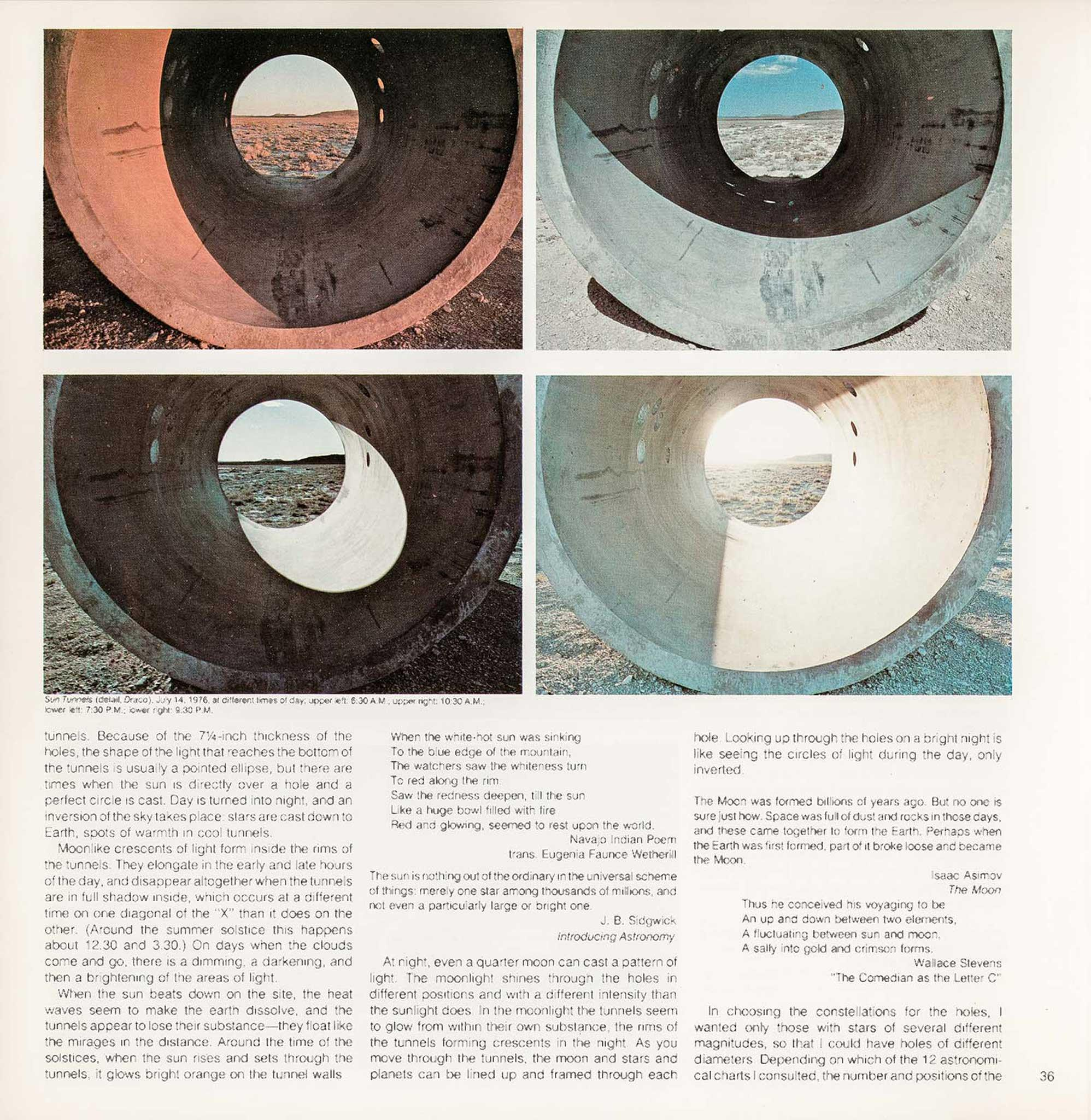 Magazine layout with four images in a grid on the top and text on the bottom. Images show changing light throughout the day inside large circular concrete tunnels.