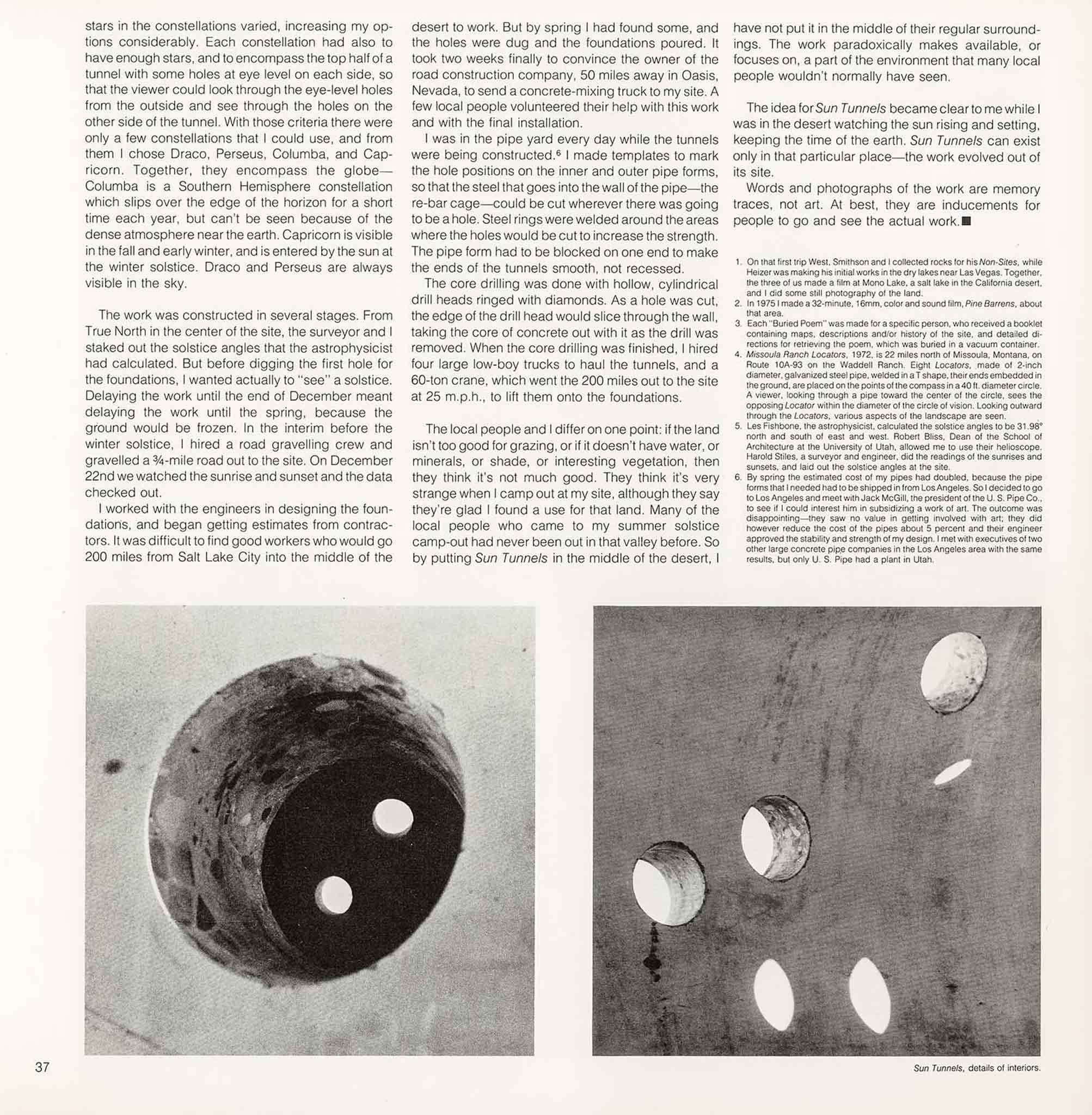 Magazine layout with text at the top and two images side by side at the bottom.  Images are details of circular holes bored through concrete.