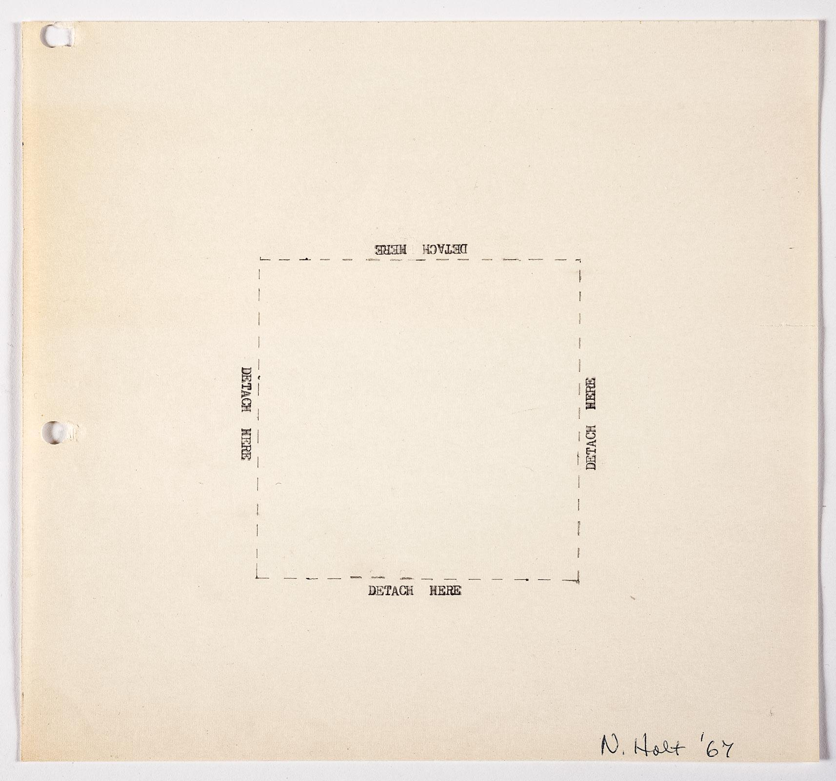 "A work done on typewriter with a dashed line forming a square in the middle of the page . Each side of the square has the words ""detrach here"" typed above them."