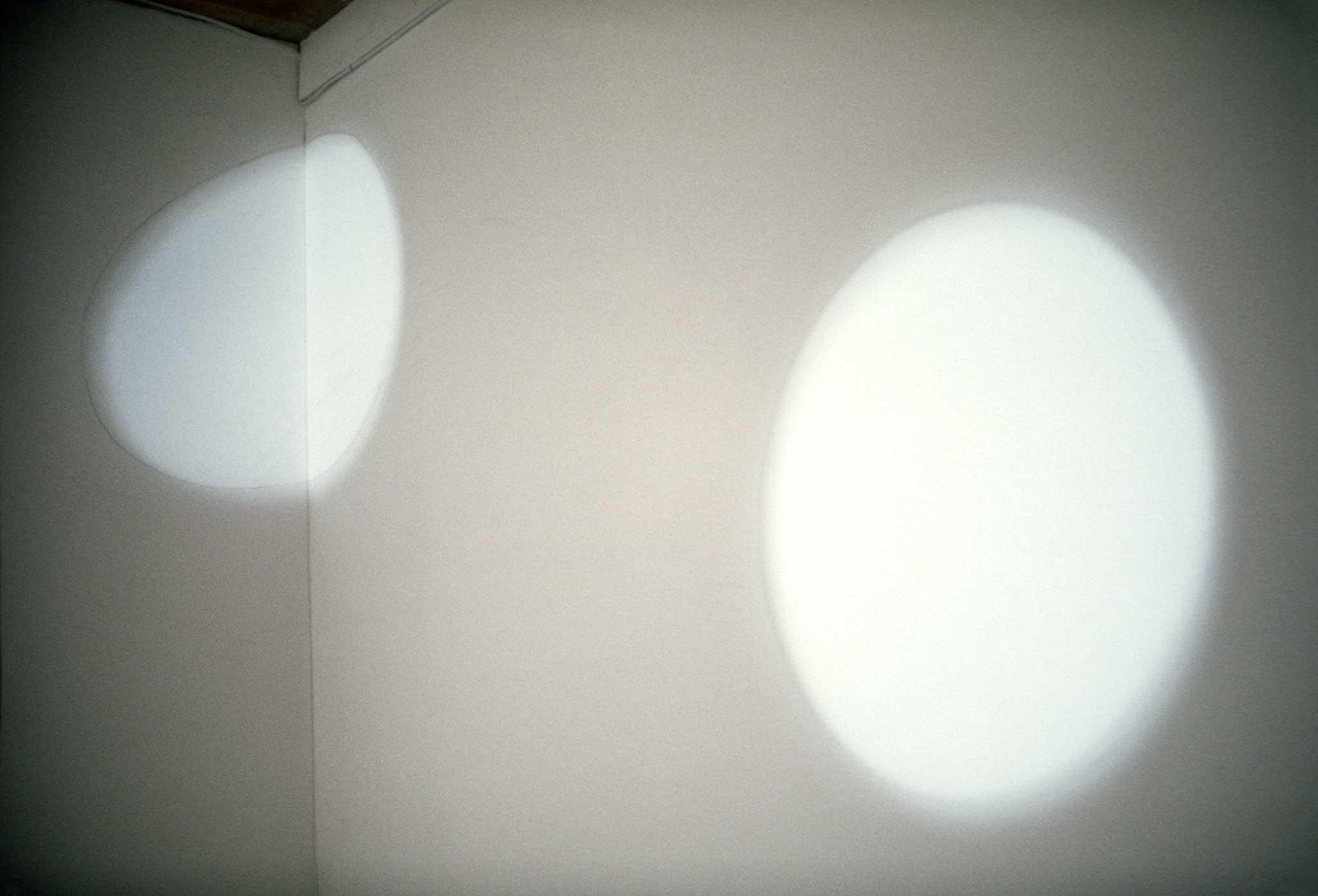 Light cast on a wall in the shape of a circle