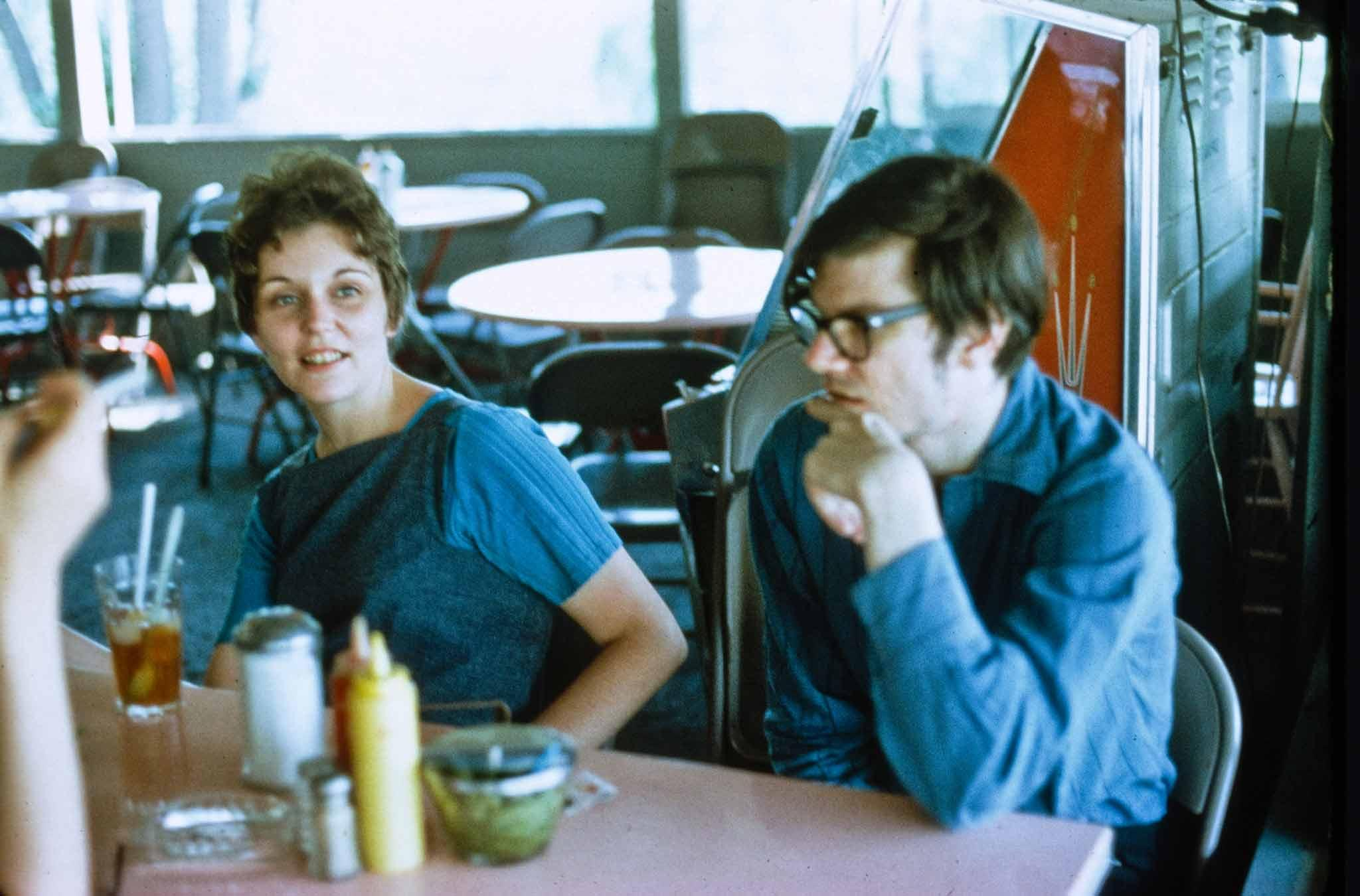 Holt and Smithson in a diner on a trip to a slate quarry in New Jersey.