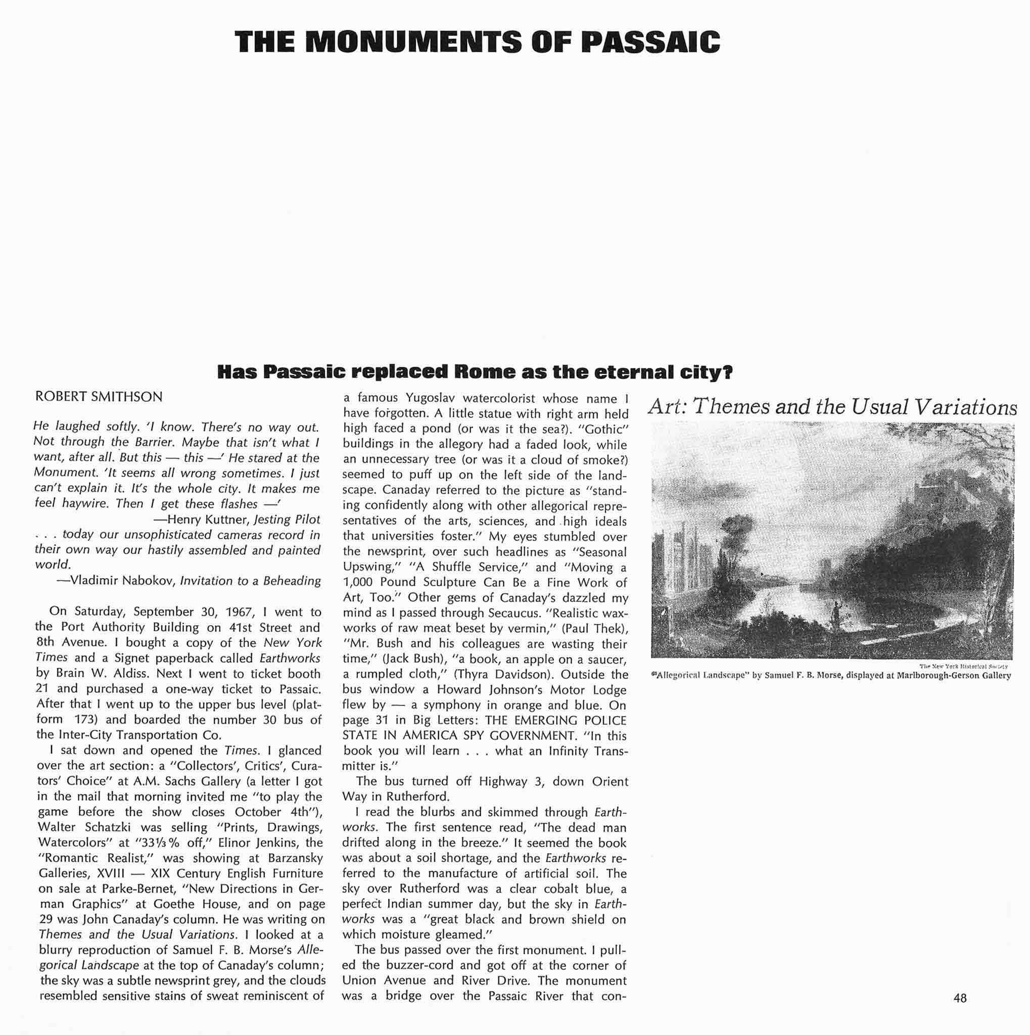 "Magazine layout with title of article ""Monuments of Passaic"" on top.  Text in lower left and black and white image of an etching on right side."