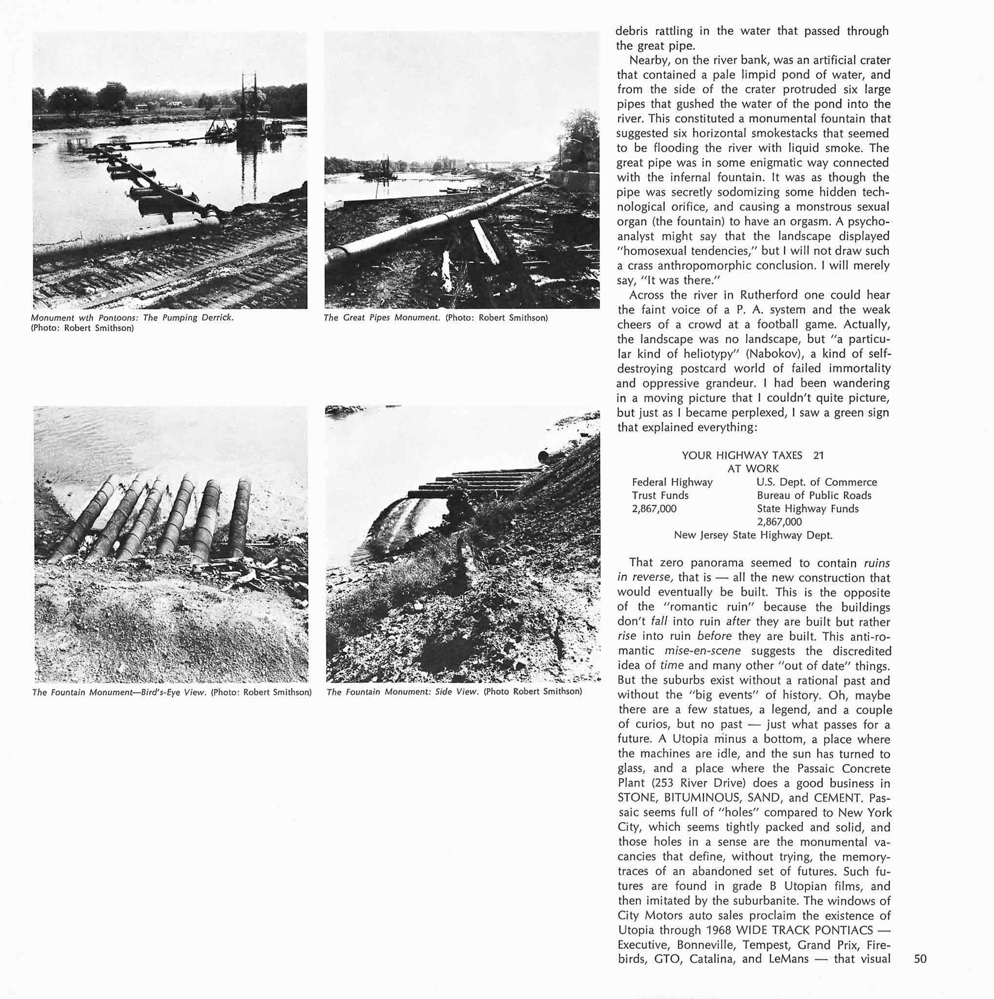Magazine layout with four black and white images of industrial monuments in New Jersey in a grid on the left and a column of text on the left.