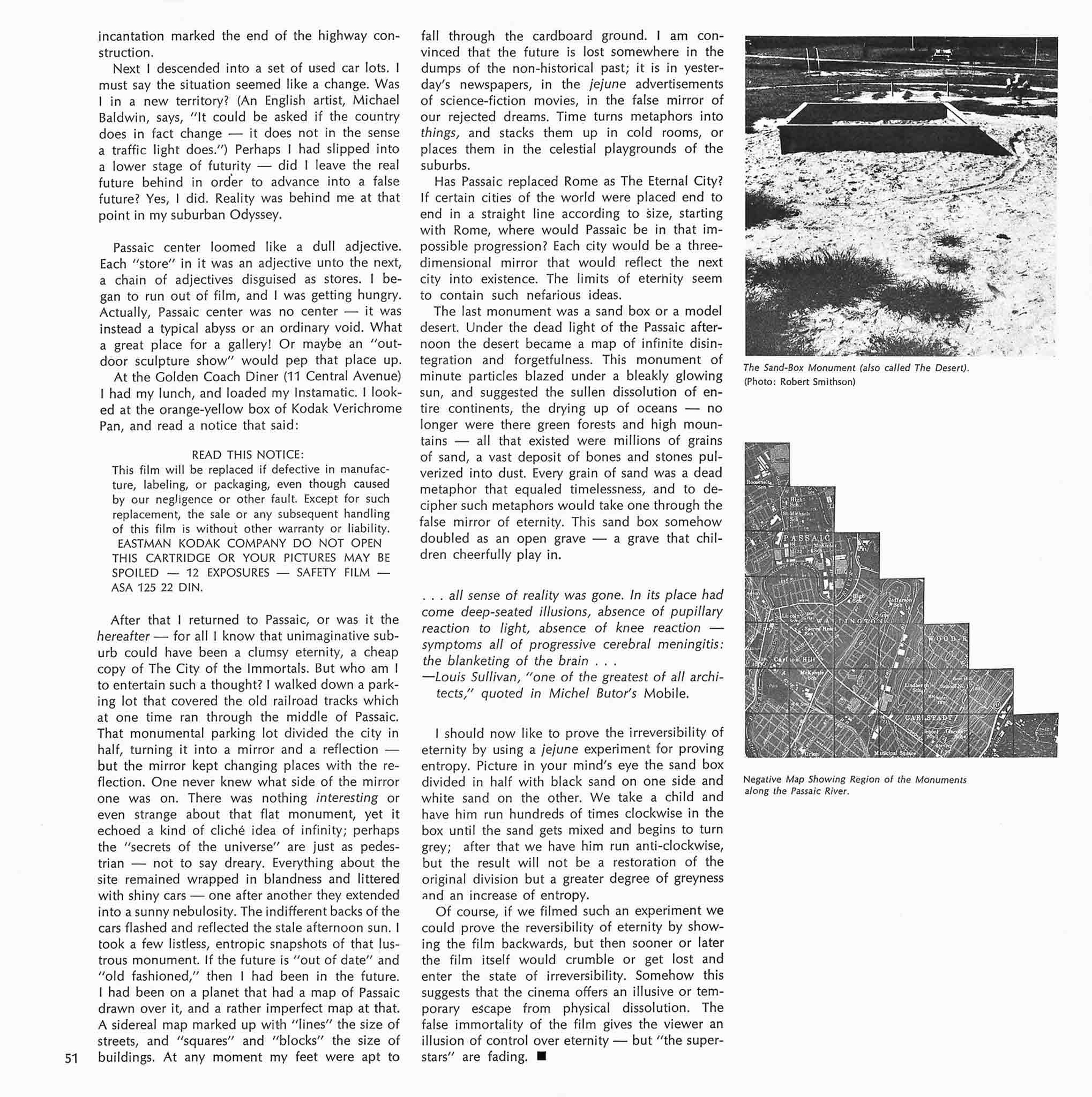 Magazine layout with two columns of text on the left and two black and white images stacked vertically on the right. Top image is of a sandbox and the bottom image is a map cut out in a step pyramid shape.
