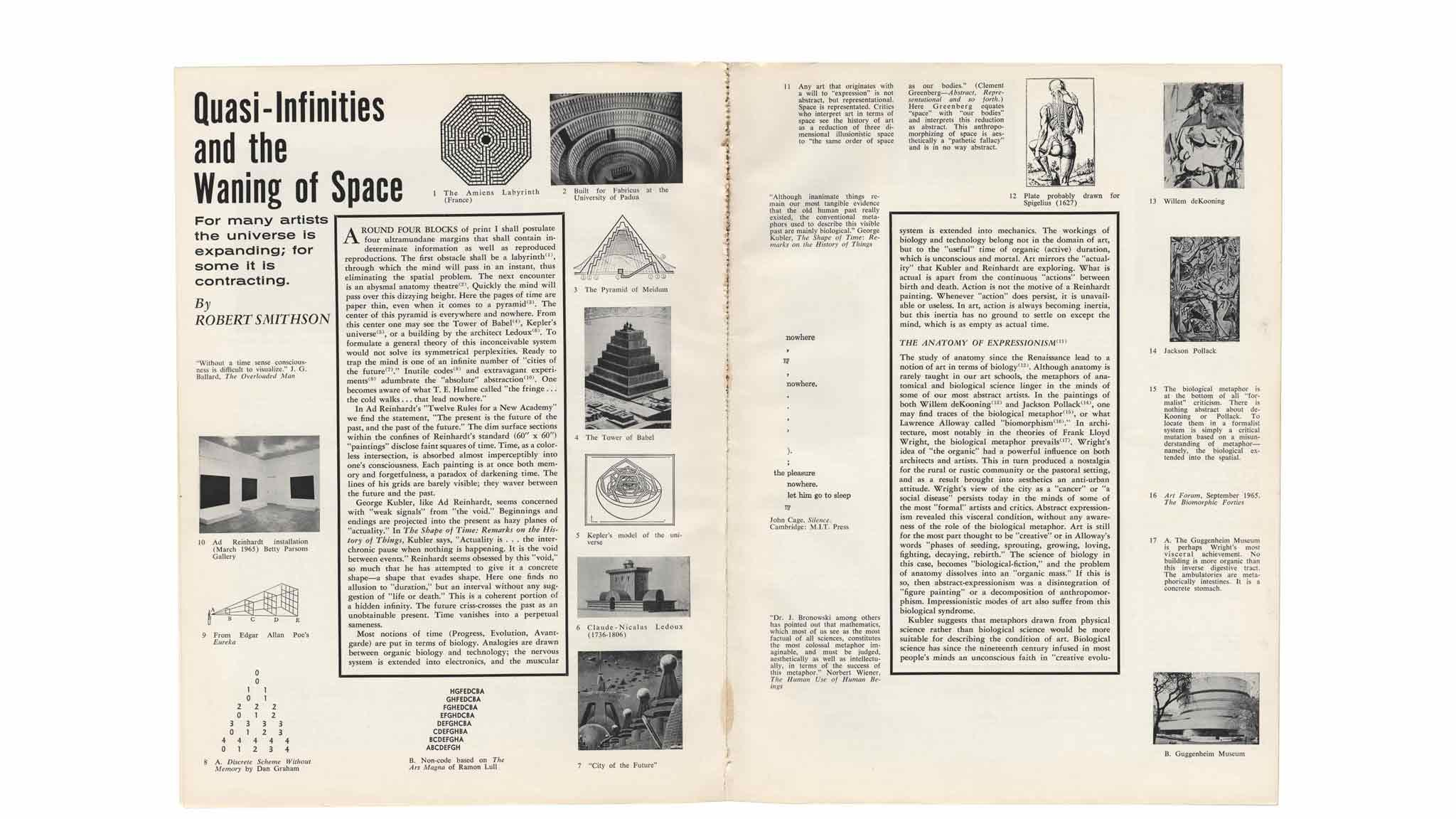 Two pages of Smithson's article Quasi-Infinities and the Waning of Space
