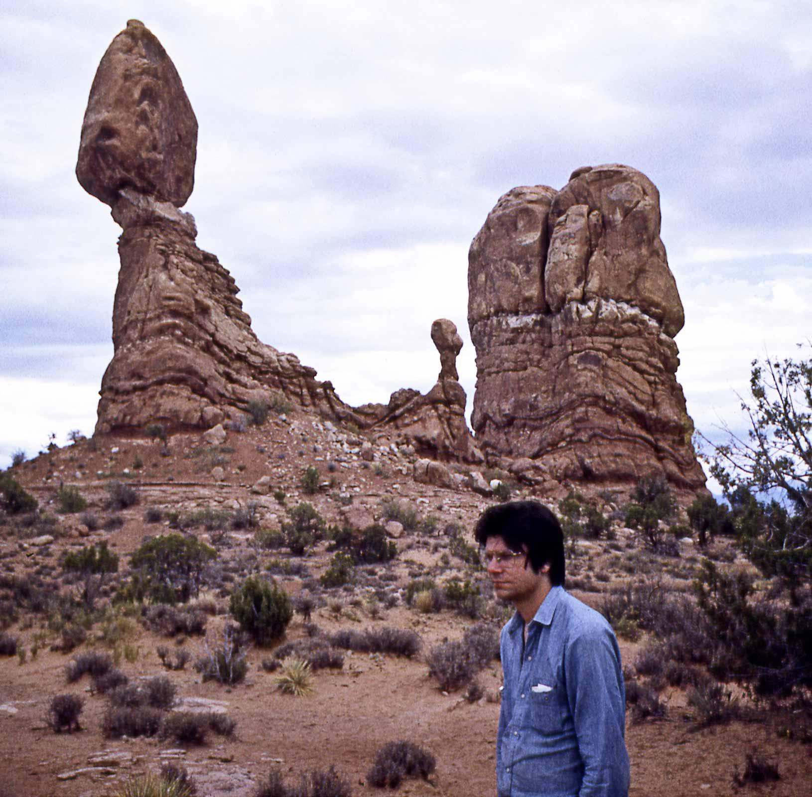 Robert Smithson at Balanced Rock, Arches National Park, Utah