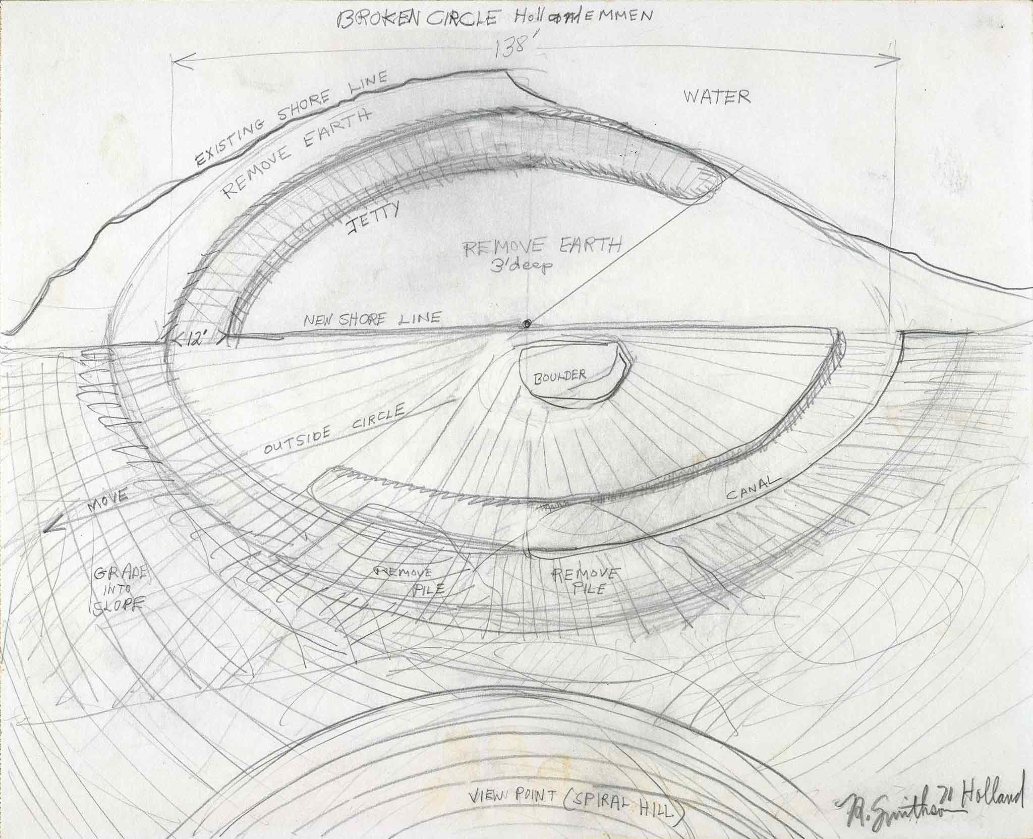 A drawing by Robert Smithson of his earthwork, Broken Circle in Emmen, the Netherlands
