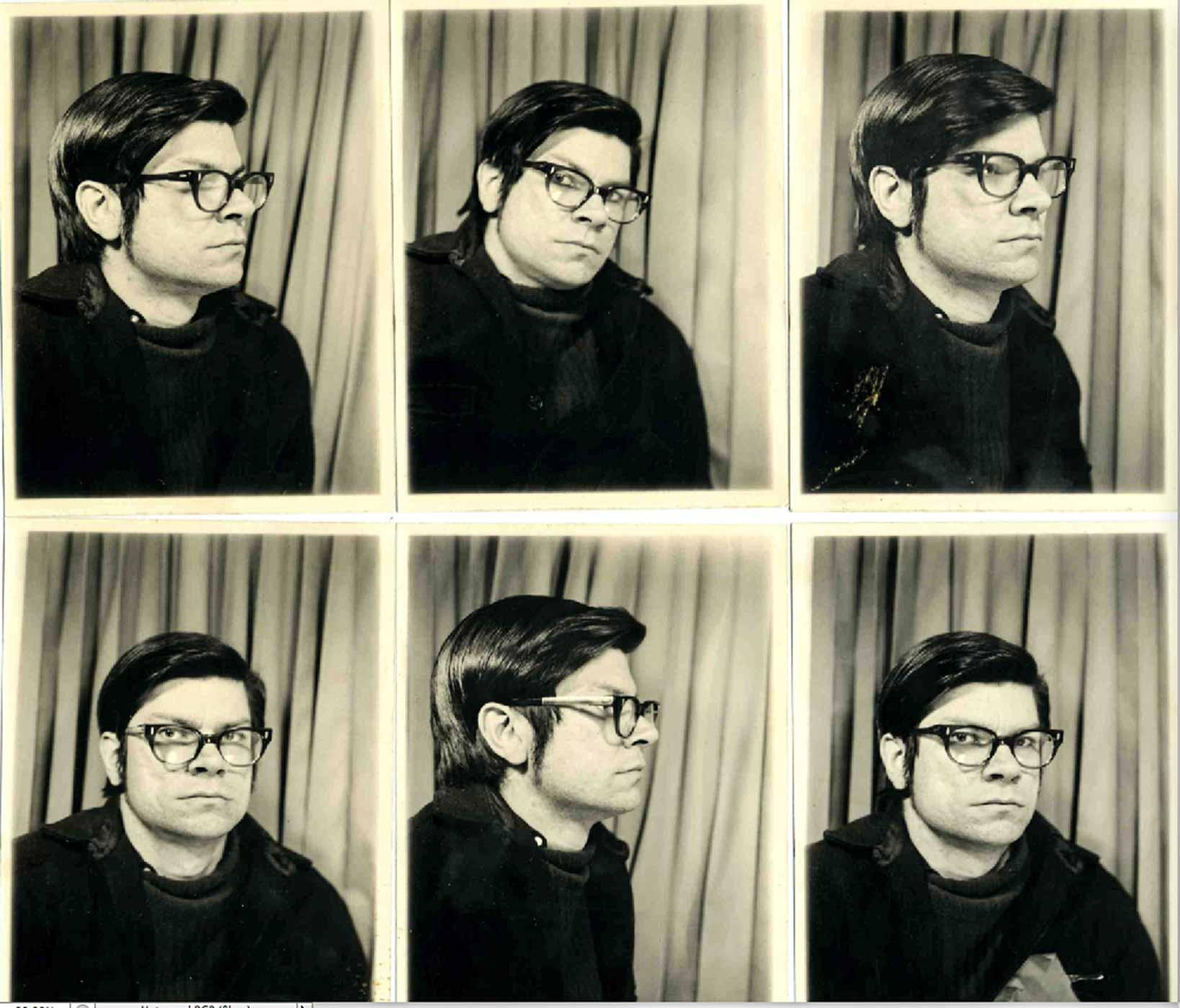 Six photo booth photos of Robert Smithson, 1968.