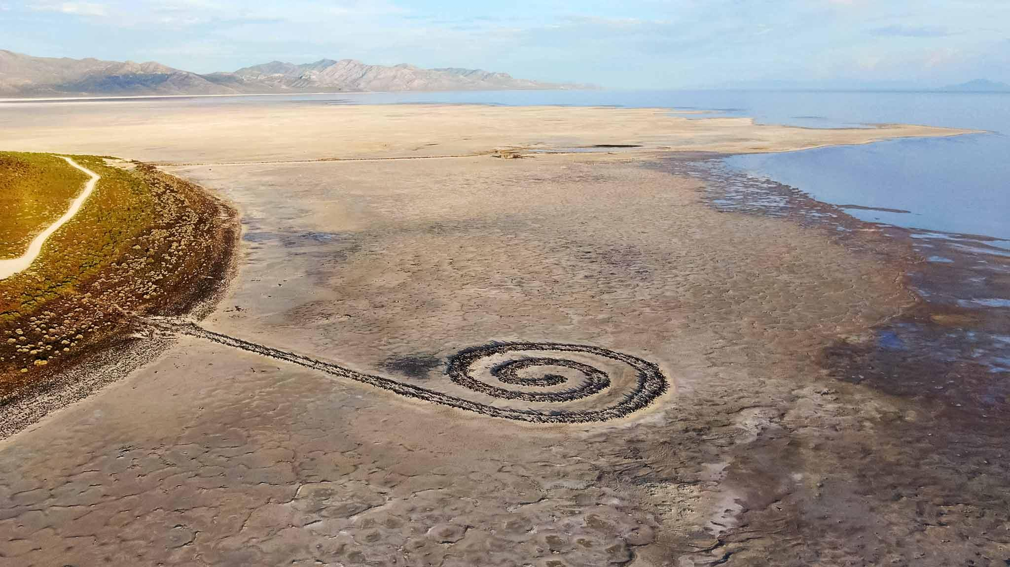 Drone photo of Robert Smithson's Spiral Jetty.