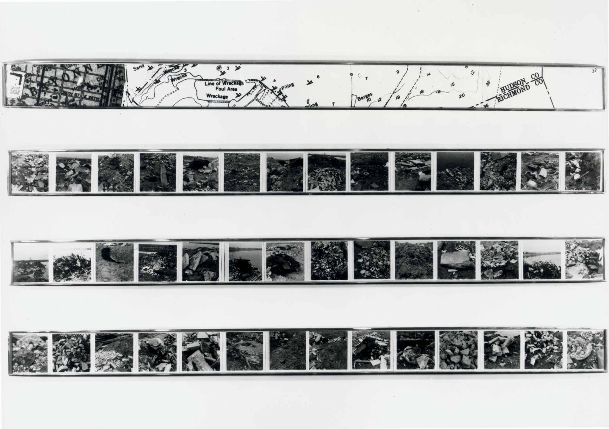 black and white image of four framed horizontal images.  The top frame contains a map and the bottom three contain multiple photographs