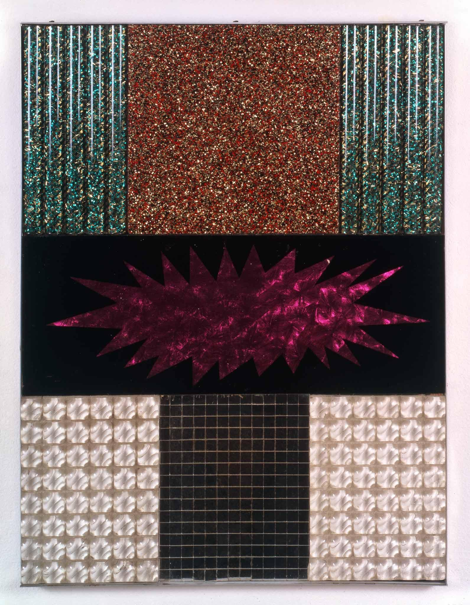 geometric abstract composition with glittery surfaces of pink, blue, red, black, and pearl