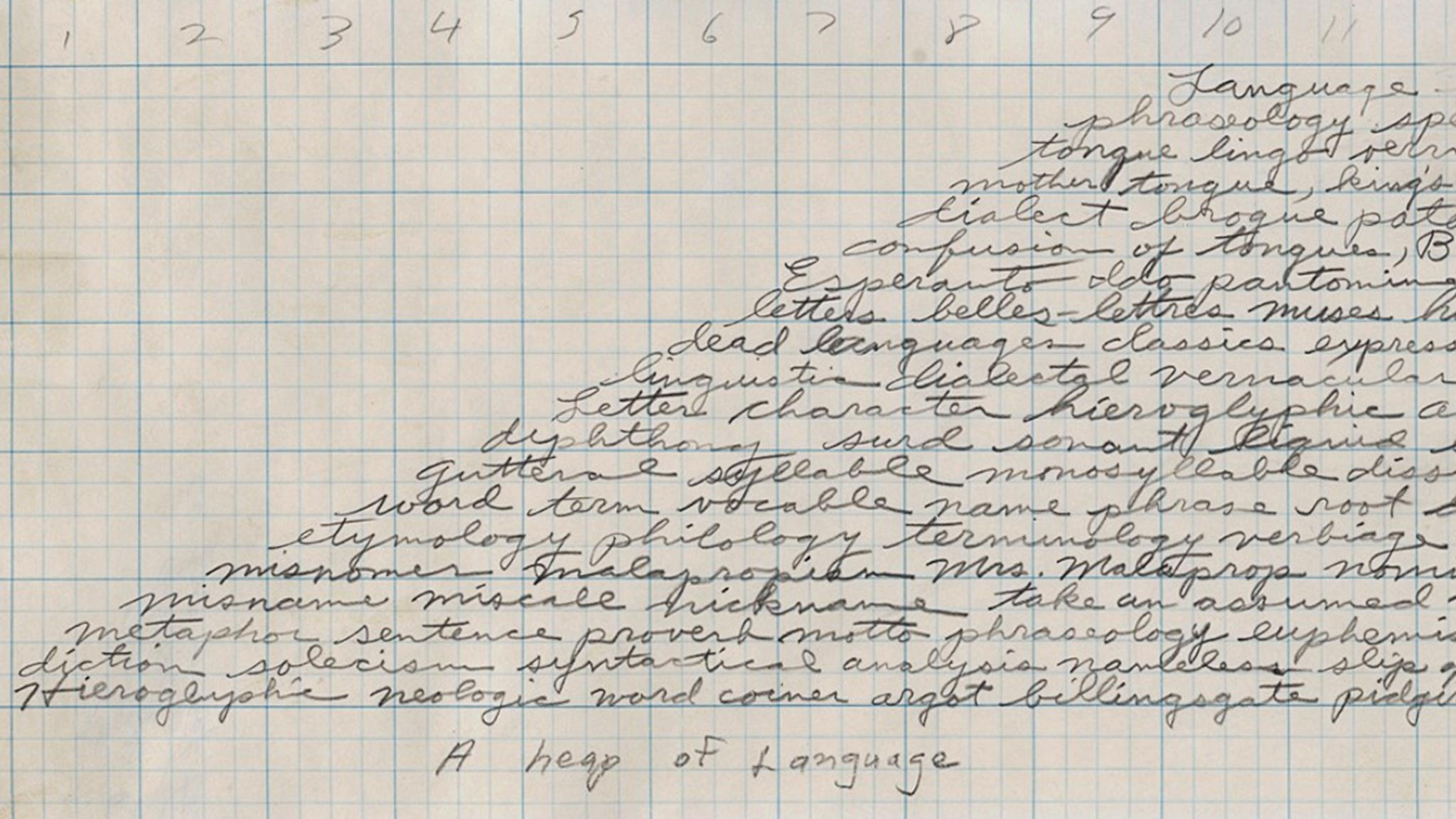 "handwritten cursive words in a pyramidal shape with the title ""a heap of language"" written at the bottom"