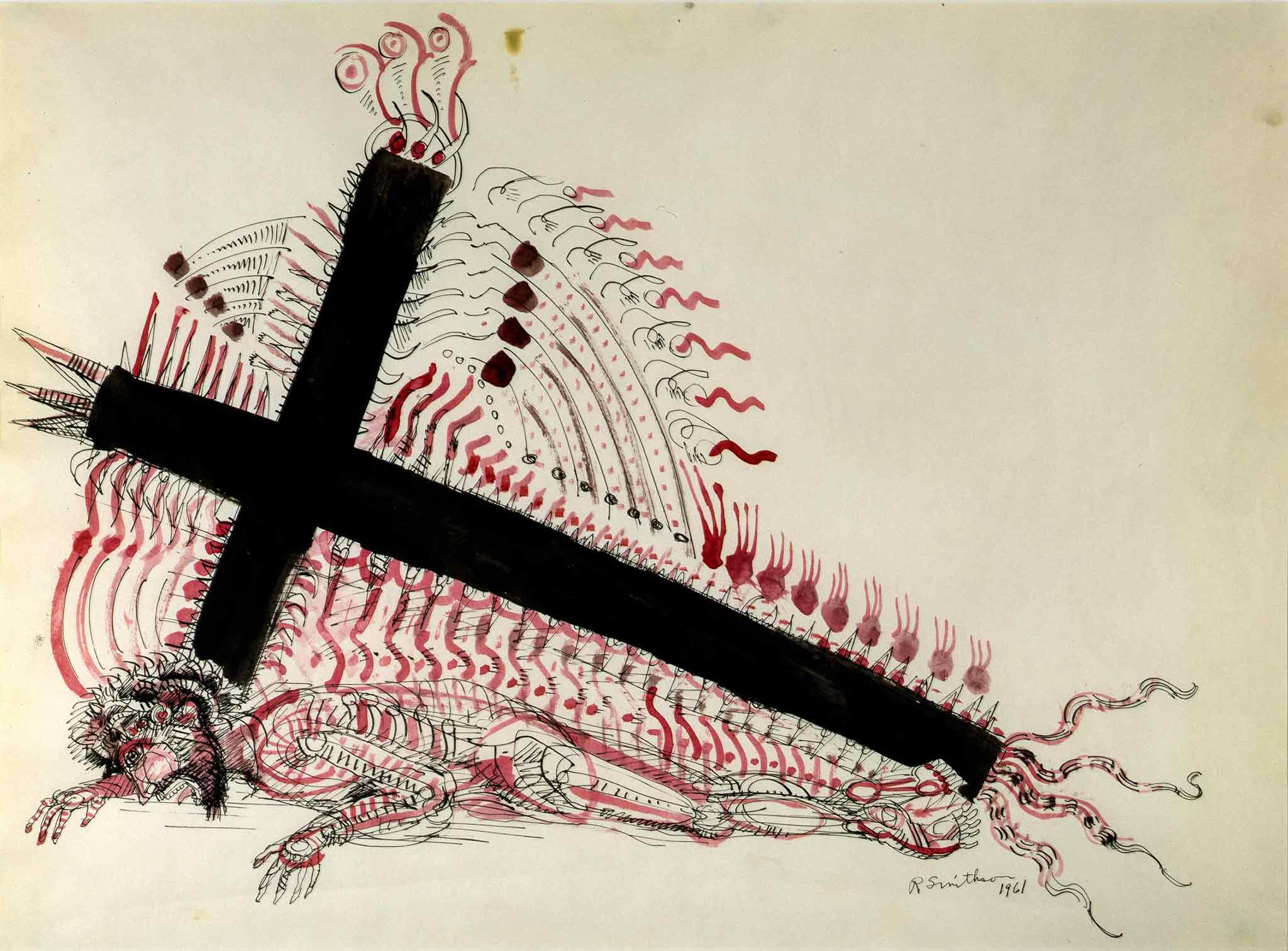 a drawing of a large black cross with geometric patterns emerging from it and Christ trapped under the cross