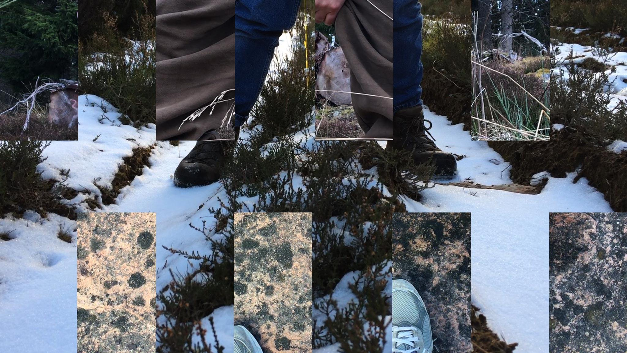 a digital collage with two images stitched together in a rectilinear pattern. One image is of boots on snow and the other of sneakers on rock