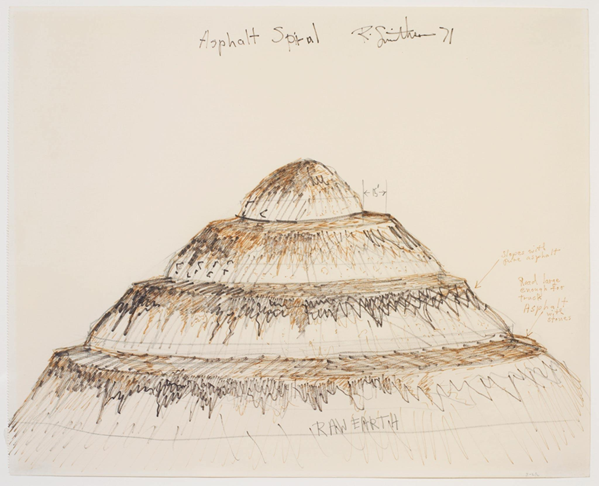a drawing of a spiraling hill with asphalt on the pathways circling the hill. Handwritten notations