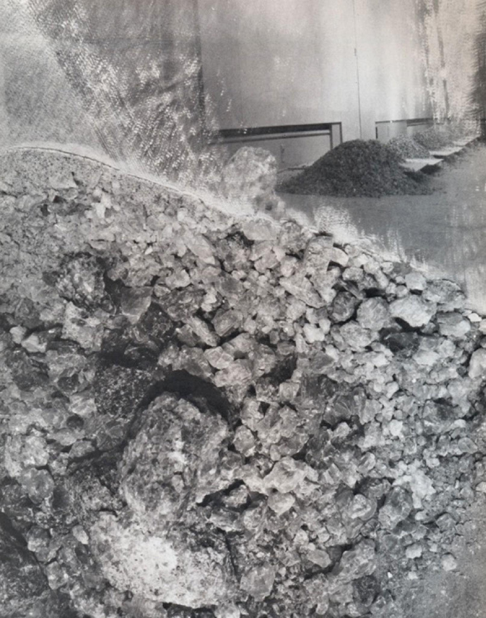 black and white detail image of rocks and a mirrored surface with a sculpture visible in the background