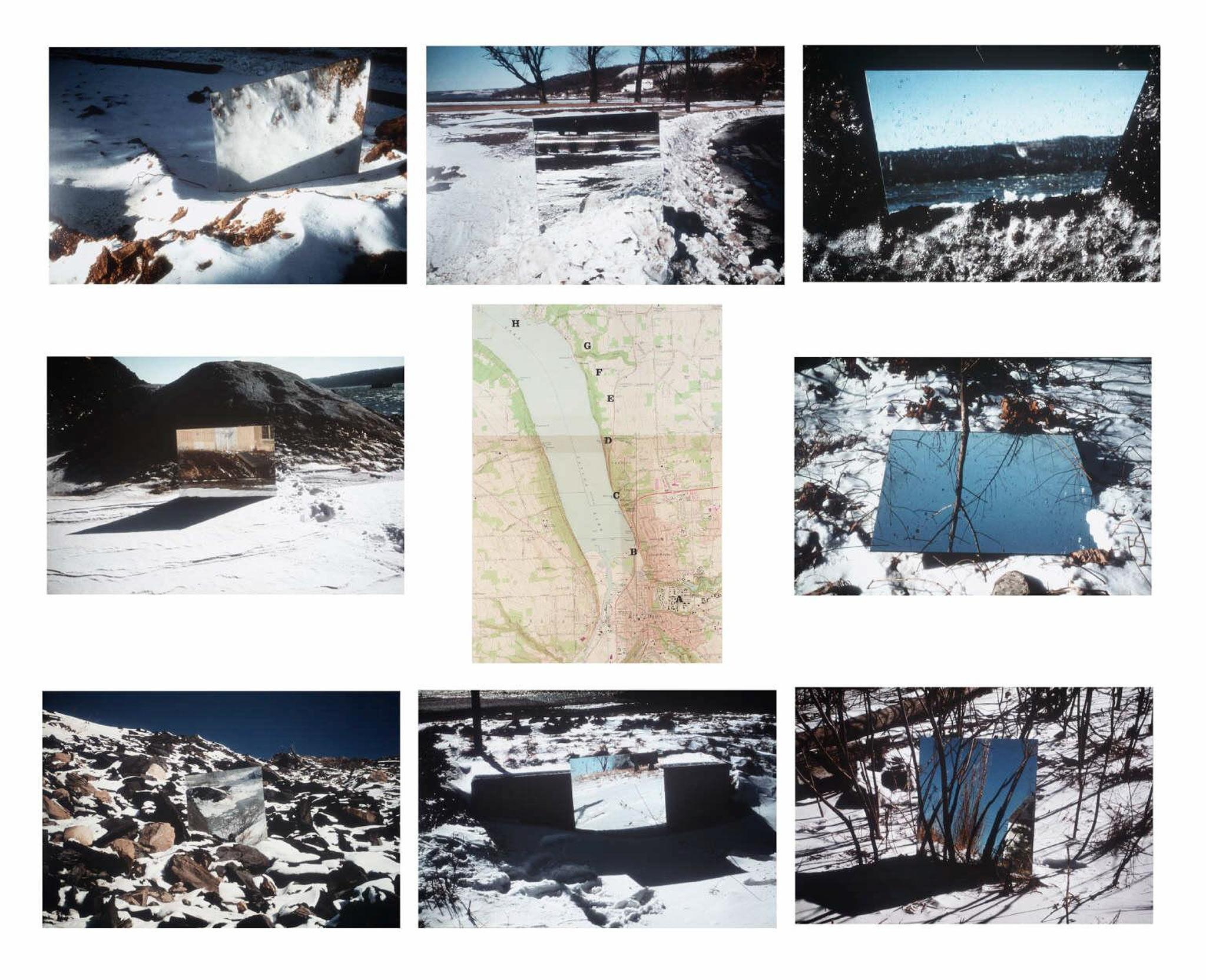 a grid of nine images: eight color images of mirrors in the landscape surround a map in the center of the grid