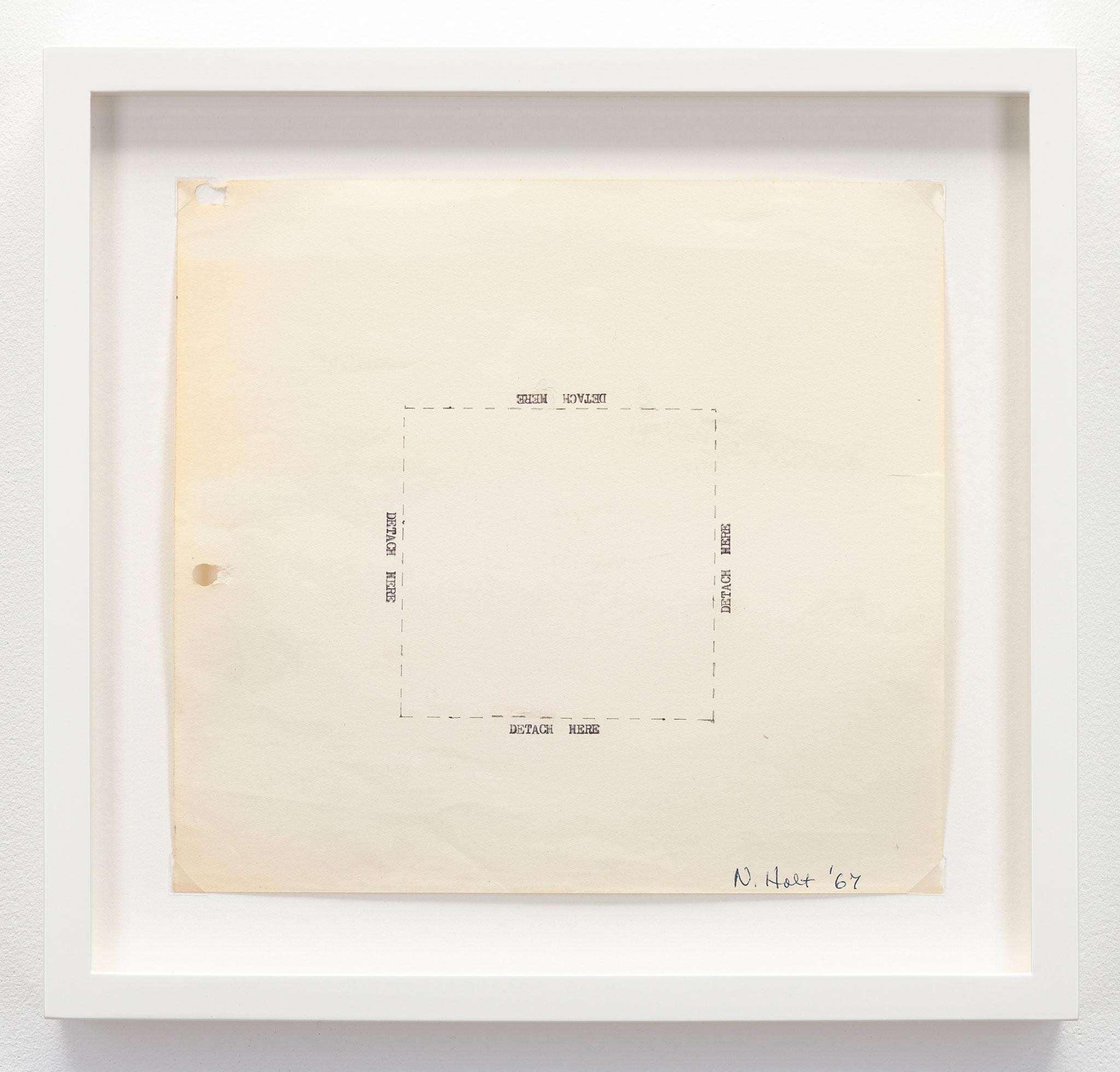 "framed square piece of paper with the words ""detach here"" typewritten on each side of a box drawn with dashed lines"
