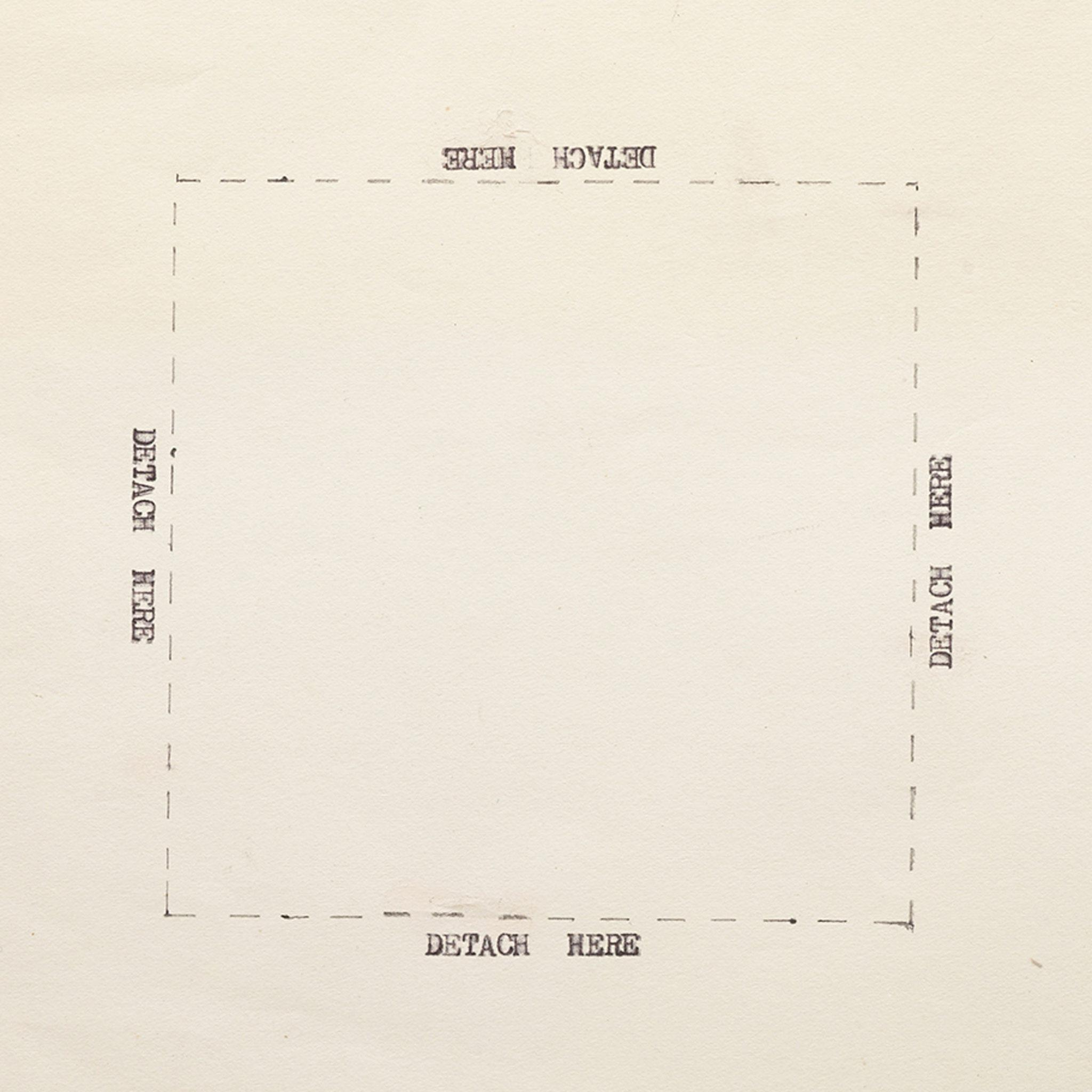 "square piece of paper with the words ""detach here"" typewritten on each side of a box drawn with dashed lines"