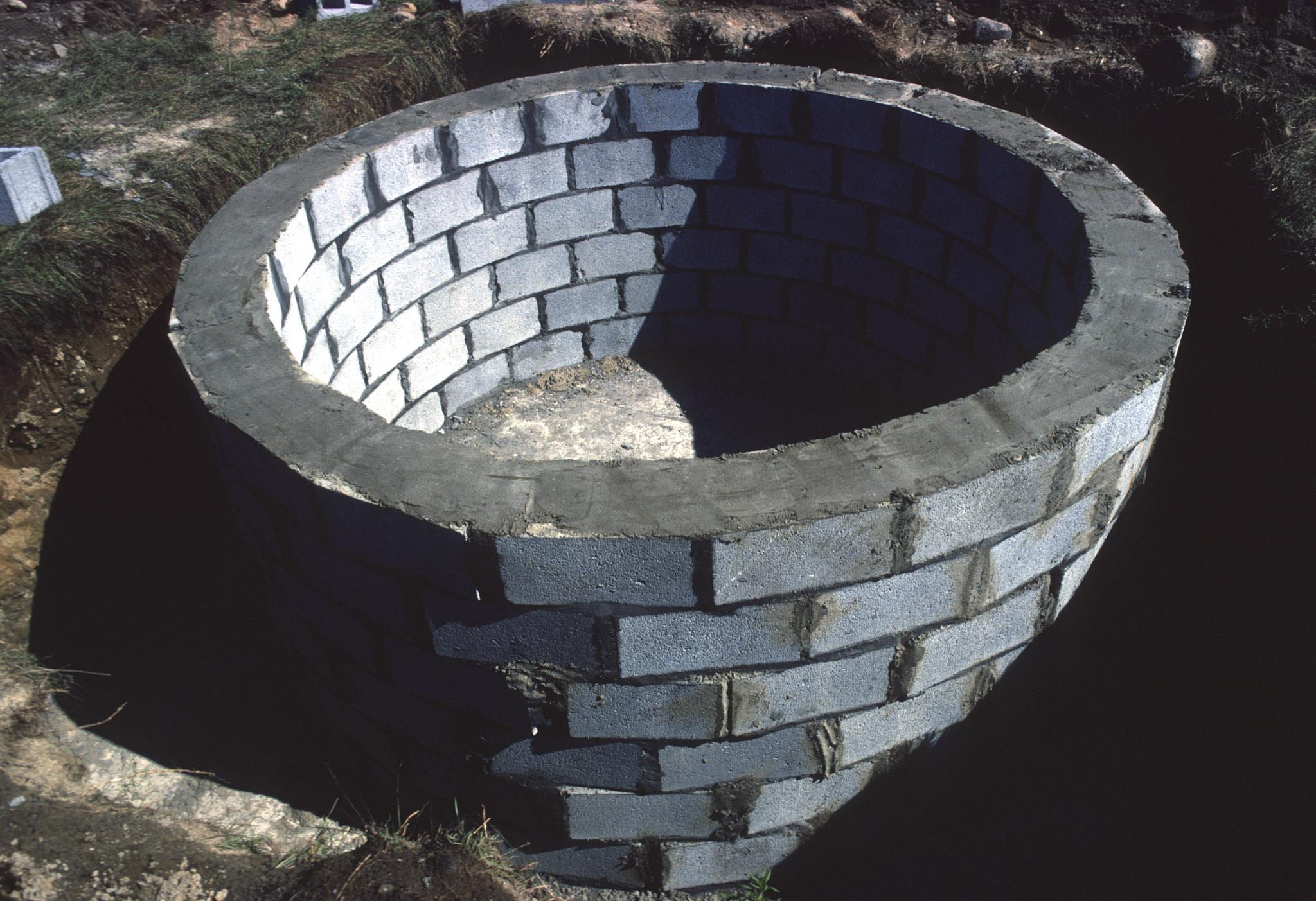 a ring of cinder blocks with mortar